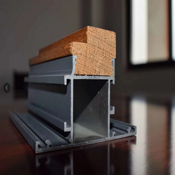 Marco de aluminio Puerta de madera combinada